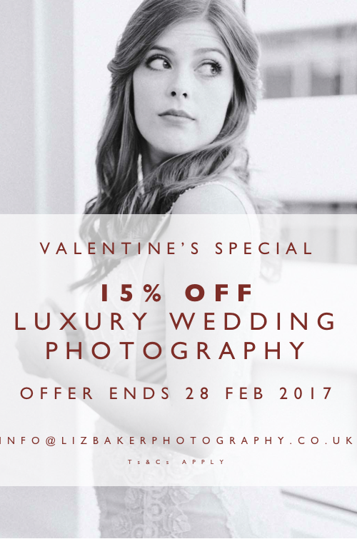 Valentine's Special Offer: 15% Off Luxury Wedding Photography