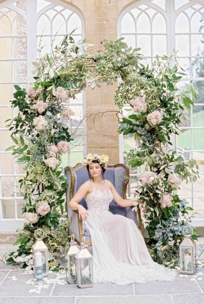 Dreamy, ethereal boho wedding ideas, with a flower crown and floral arch | Liz Baker Photography